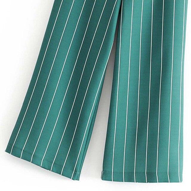 TXJRH Fashion Green Striped Print Wide Leg Pants Stylish Women High Waist Full Length Pants Loose Trousers Pantalones