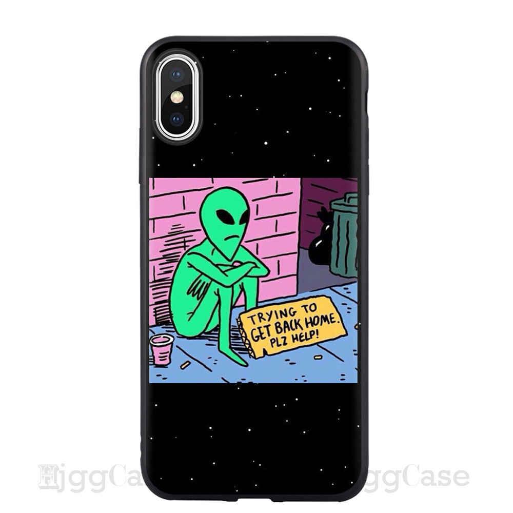 Ästhetik Nette Cartoon alien raum Weichen Silikon Telefon Fall Abdeckung Shell Für Apple iPhone 5 5s Se 6 6s 7 8 Plus X XR XS MAX fall Coque Für iPhone 11 Pro Max Fällen