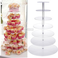 New 7 Tier Kitchen Cake Plate Crystal Clear Circle Round Cupcake Plate Stand For Wedding Party