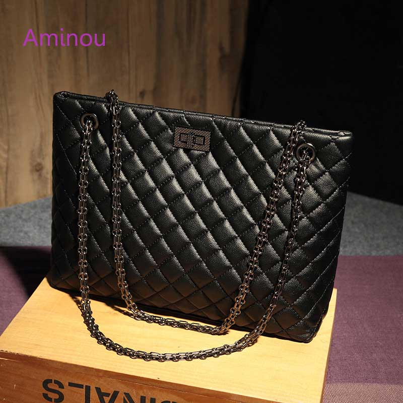 2017 Luxury Brand Women Plaid Bags Large Tote Bag Female Handbags Designer Black Leather Big Crossbody Chain Messenger Bag Girl luxury handbags women chain messenger bag lipstick lock designer woman black