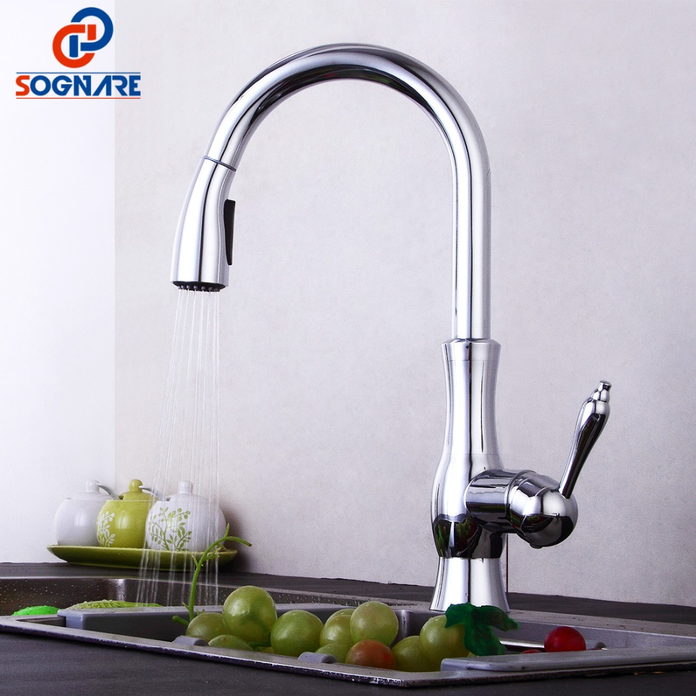 Kitchen Tap Chrome Finished Spring Kitchen Faucet Solid Brass Single Handle Mixer Sink 360 Rotate Swivel Faucet For Kitchen Sink