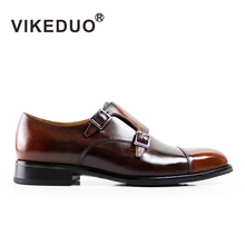 VIKEDUO 2017 Vintage Retro Handmade Mens Monk Shoes Italy Design Luxury Party Wedding Buckle Shoes 100% Genuine Leather For Male
