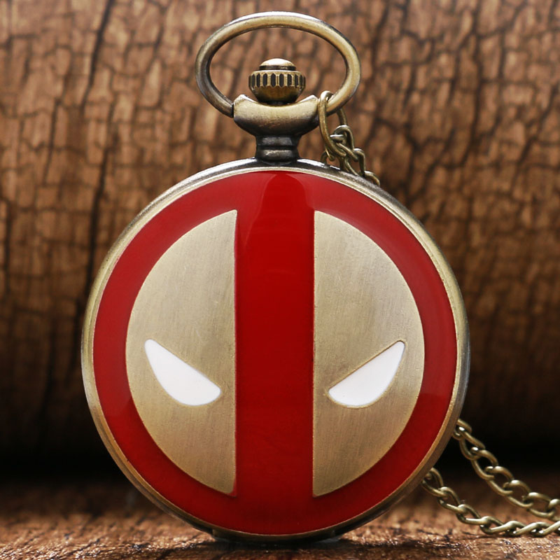 Hot 2017 Fashion Cool Super Deadpool Quartz Pocket Watch Necklace Pendant with Chain for Men Boys Women reloj de bolsillo P342 unique smooth case pocket watch mechanical automatic watches with pendant chain necklace men women gift relogio de bolso