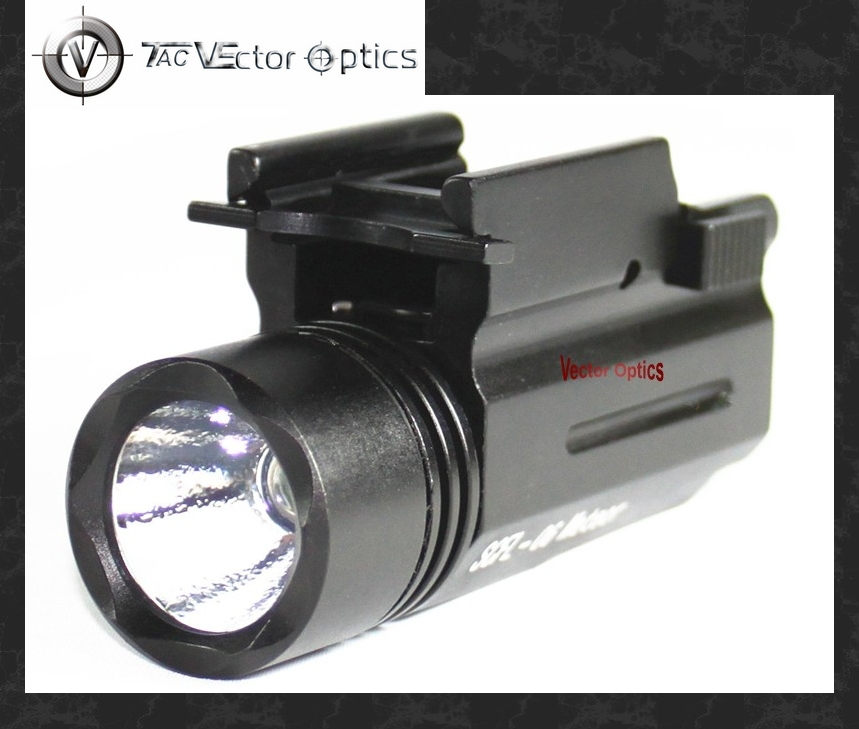 Vector Optics Compact Tactical Illuminator LED Flashlight 200 Lumen Torch with 20mm Weaver Mount Weapon Light for GLOCK 17 19