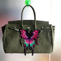 BIG 17.7inch Christmas Wife Gift Butterfly Bag Pink Canvas Purse Tote Black Party Accessory Gift For Girl Handbag Embroidery Bag
