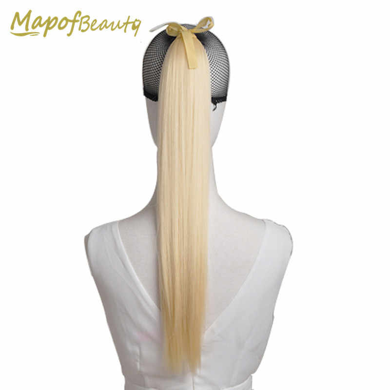 "MapofBeauty 22"" Long Straight Synthetic Hair Extensions Ponytail 18 Colors White Blonde Green Pink Pony Tail Ribbon Drawstring"