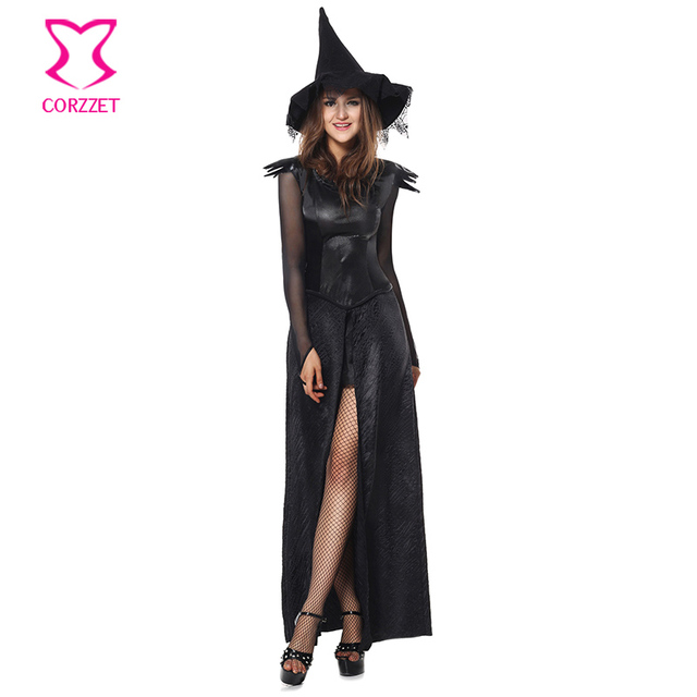 0abb72f1f4e 4-piece Black Gothic Medieval Witch Costumes Halloween Cosplay Costume Women  Evil Sorceress Long Sexy
