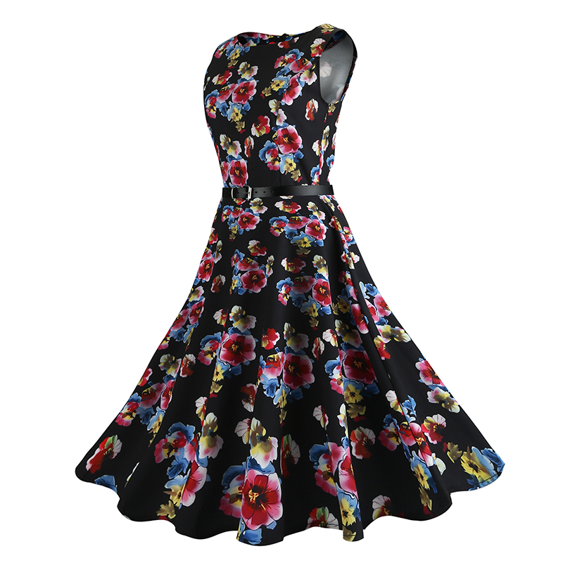 2017 Women <font><b>Dress</b></font> Retro <font><b>Vintage</b></font> <font><b>1950s</b></font> <font><b>60s</b></font> Rockabilly <font><b>Dress</b></font> Floral Swing Summer <font><b>Dresses</b></font> Elegant Tunic Vestidos Plus Size S-XXL image