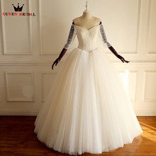 QUEEN BRIDAL Custom Size Wedding Dresses V-neck Gown