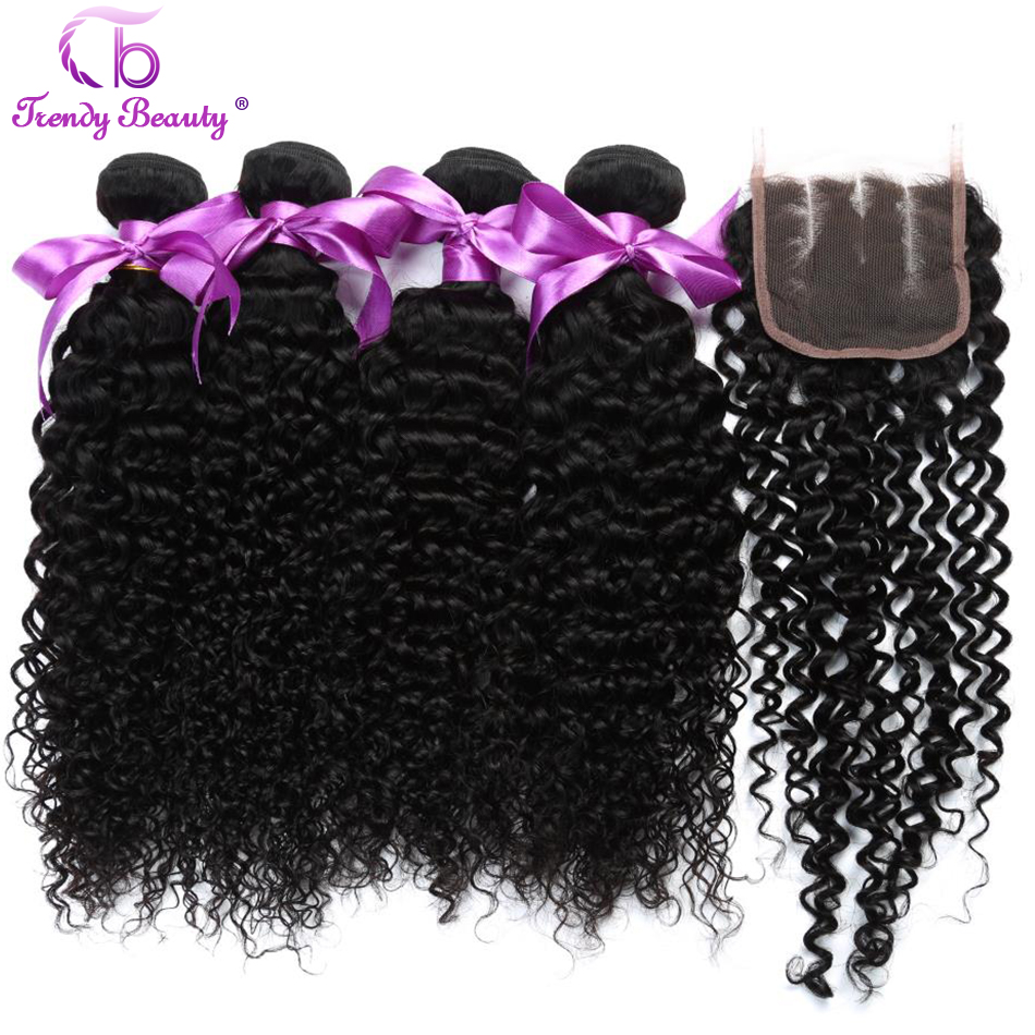 Indian 4 Pcs Kinky Curly 100% Human Hair Weave Bundles with Closure Non Remy Hair Extension Thick Weft Black Color Trendy Beauty