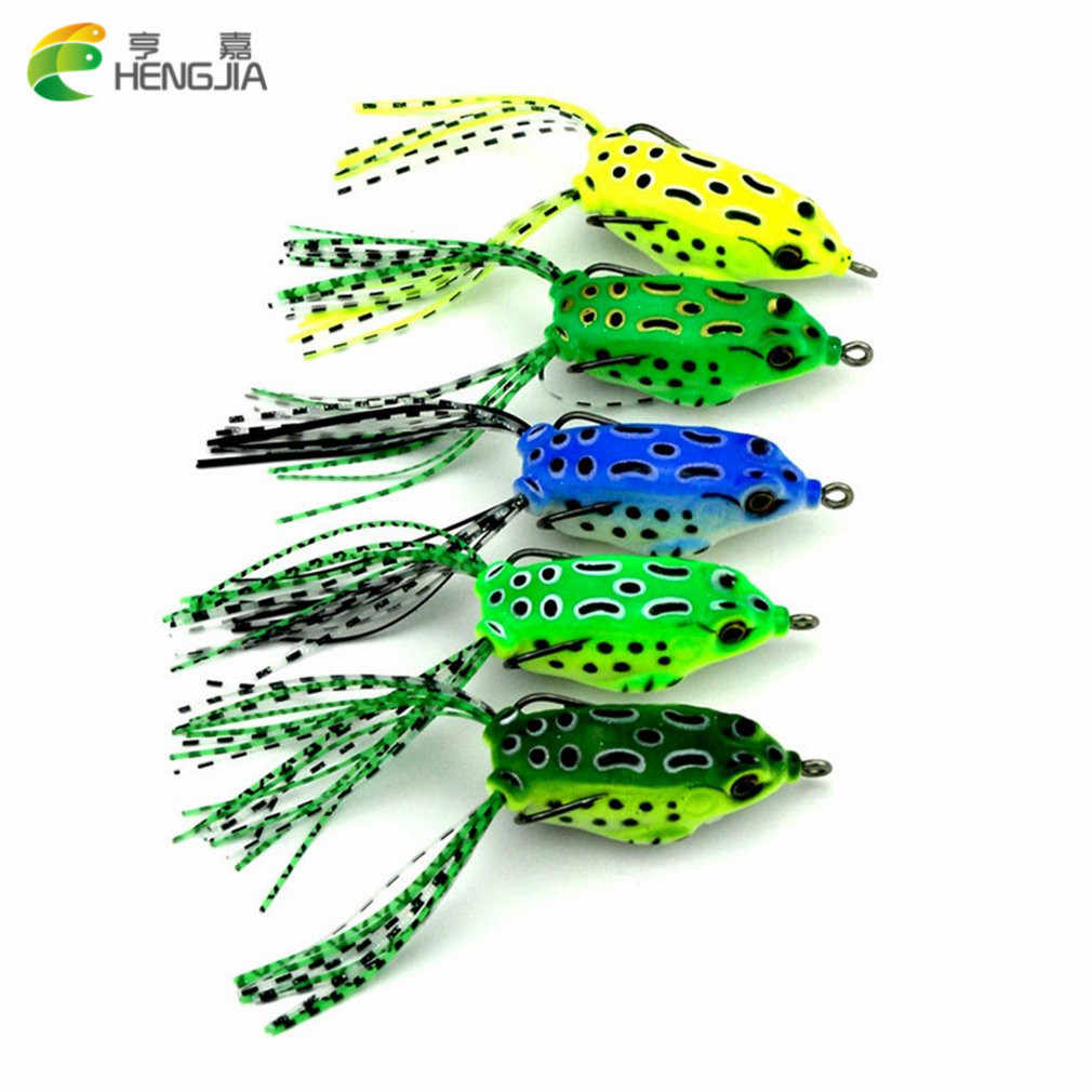 5PCS Dual Hooks Frog Baits 5.5CM Soft Mini Fishing Lures Portable Crankbaits Metal Hooks Topwater Baits Fishing Tackle