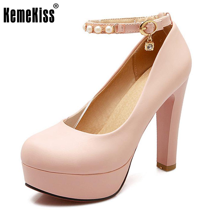 KemeKiss 32-43 women gentelwomanly party shoes platform ankle strap high heel pumps fashion heeled sexy heels footwear P23151 big size 32 43 fashion party shoes woman sexy high heels platform summer pumps ankle strap sandals women shoes