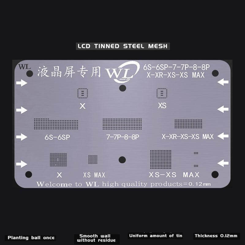 7 8 Plus 6S fonefunshop LCD Screen Display IC BGA Reballing Stencil for iPhone Xs Max//Xs//XR//X 8//7 Plus 6S Plus