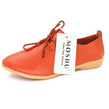 951d10676d7c Fashion Genuine Leather Women Flats Lace Up Pointed Toe Loafers Casual Shoes  Ballerina Size 35-