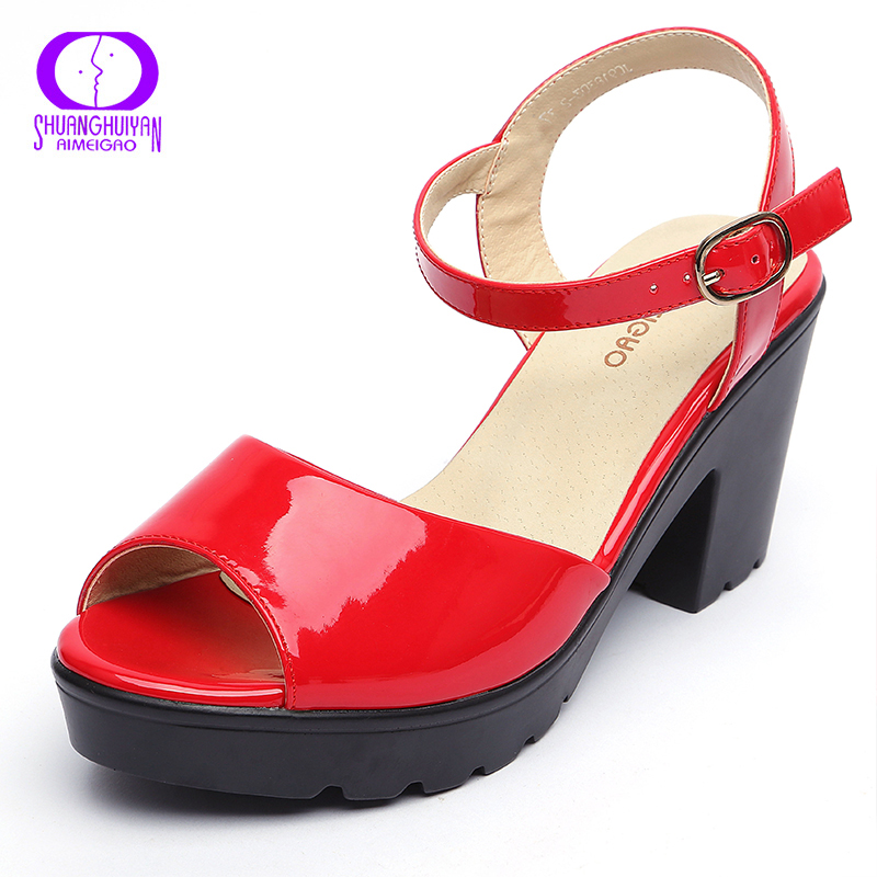 Big size summer red wedge platform women high heels for Platform shoes with fish