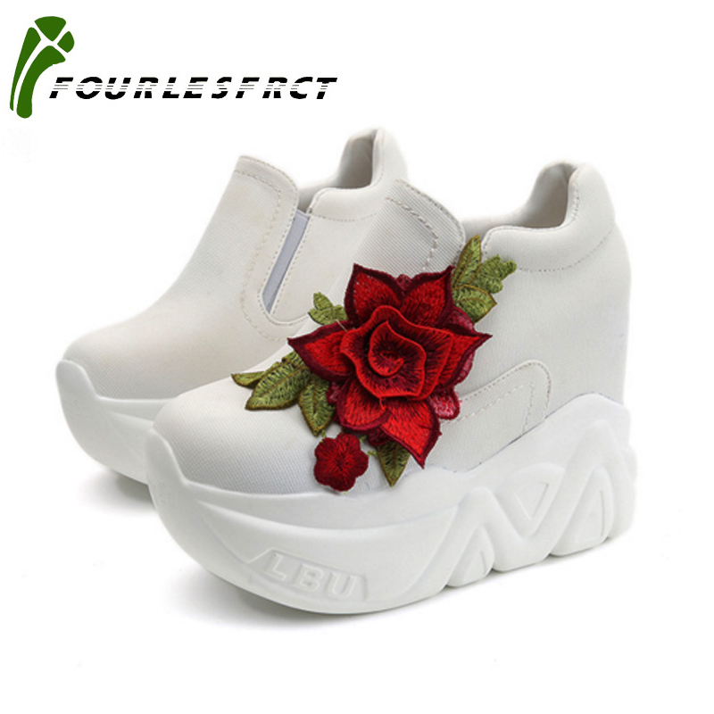New 2017  Wedges High Heels Ladies Casual Shoes vulcanize Women slip on platform shoes female chaussure femme red flowers phyanic 2017 gladiator sandals gold silver shoes woman summer platform wedges glitters creepers casual women shoes phy3323