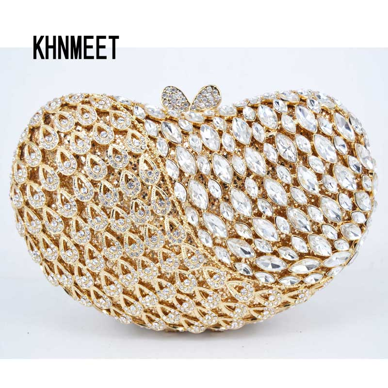 5 color gold Silver crystal diamond clutch party prom purse bride wedding female prom bag pochette evening bag Day Clutch bags 03 red gold bride wedding hair tiaras ancient chinese empress hat bride hair piece