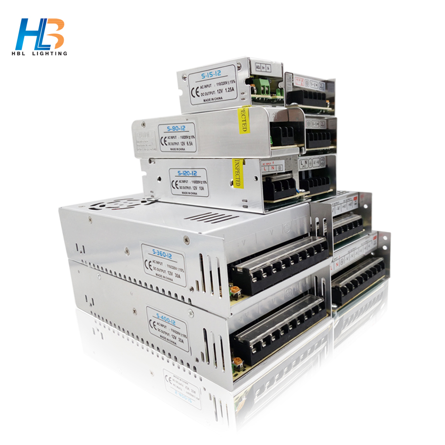 HBL Led Driver AC110V-220V power supply 12V 1.25A 2A 3A 5A 6.5A 10A 15A lighting transformer led power supply for led strip 5050 201w led switching power supply 85 265ac input 40a 16 5a 8 3a 4 2a for led strip light power suply 5v 12v output