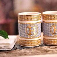 Ceramic tooth mug magnesia porcelain H mark mosaic design tooth mug bathroom rinsing mug tooth cup