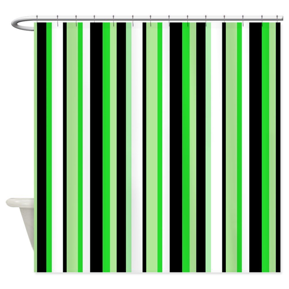 Green shower curtains - Warm Tour Black Stripe With Green Shower Curtain Fabric Polyester Waterproof Bathroom Curtains China