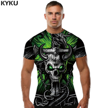 KYKU Skull T shirt Tau T-shirt Iron Chain Tees Punk Clothing Hip-Hop shirts  Clothes Men Print Sexy Fashion O-Neck