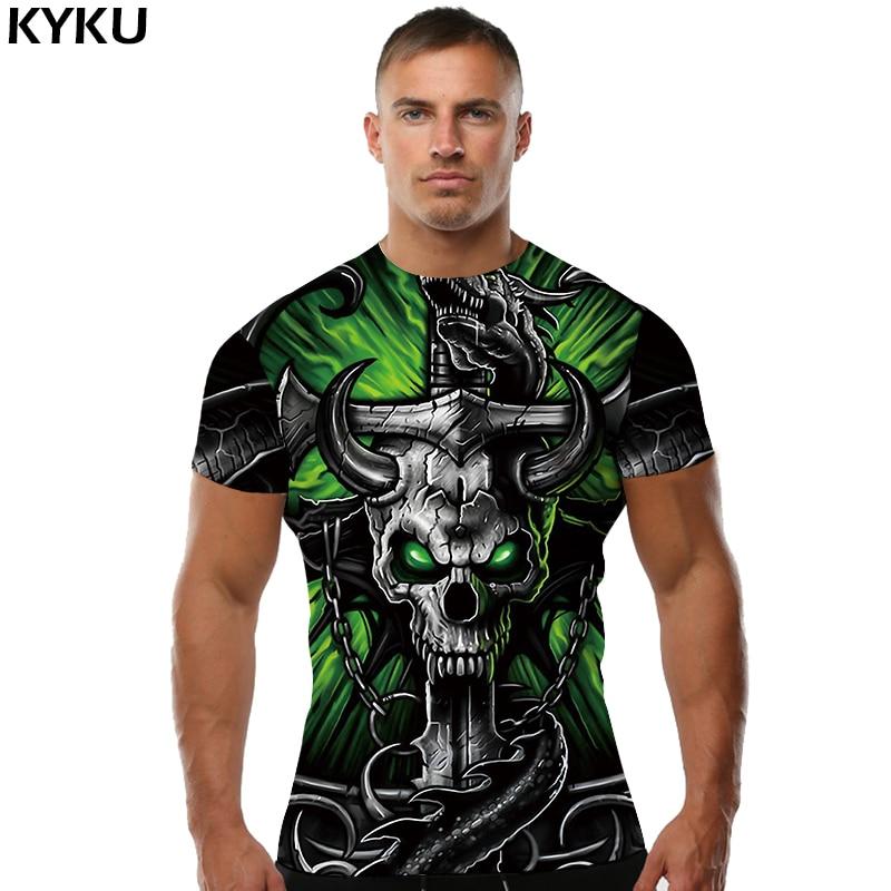 KYKU Skull T shirt Tau T-shirt Punk Rock Clothing Hip-Hop Tee Anime Clothes Sexy Men Clothing Print Fashion 2018 New O-Neck