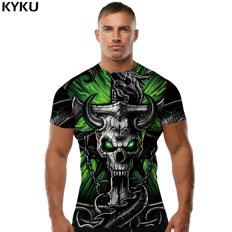 KYKU Skull   T     shirt   Tau   T  -  shirt   Punk Rock Clothing Hip-Hop Tee Anime Clothes Sexy Men Clothing Print Fashion 2018 New O-Neck