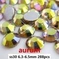 Pedrería de Cristal Para la Decoración de uñas de Arte 288 unids ss30 6.3-6.5mm de Color Aurum Non Hot Fix Loose Cristal diamantes DIY Joyería