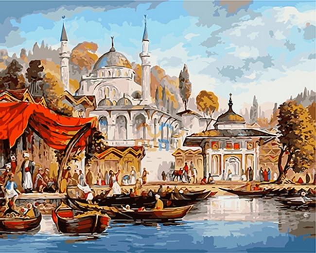 Бескаркасных живопись по номерам PBN краска по количеству для домашнего декора для гостиной 4050 рынка на реке ...