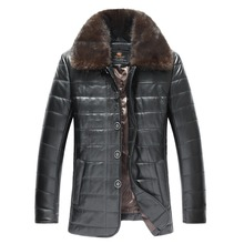 2017 Men Long Casual Genuine Leather Jacket Mink Collar Real Sheepskin Plus Size 4XL Men Winter Slim Leather Coat FREE SHIPPING