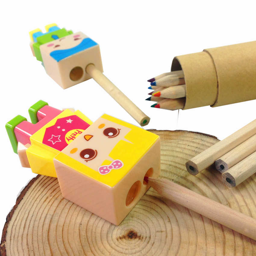 16 шт./лот Kawaii мальчик и девочка кукла дизайн два отверстия точилка для карандашей с Ластик игрушка-головоломка для детей милые украшения реквизит