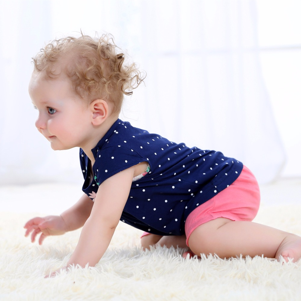 Summer 2017 baby girl clothing 100 cotton clothes for baby bodysuit shorts T shirt 3 pcs