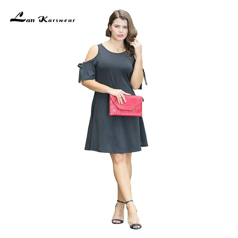 Lan Karswear 2019 Літнє плаття О-подібним - Жіночий одяг