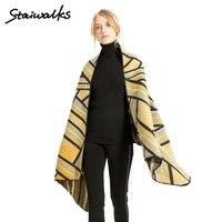 Staiwalks Women Lady Pashmina Sleeveless Burrowing Shawl Cross Striped Pattern Fashion Graceful Classic Style Wrap Gift New In