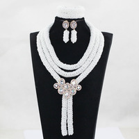 Charms White African Beads Jewelry Set Nigerian Beads Necklaces White African Jewelry Set for Women Wedding Accessories WE115