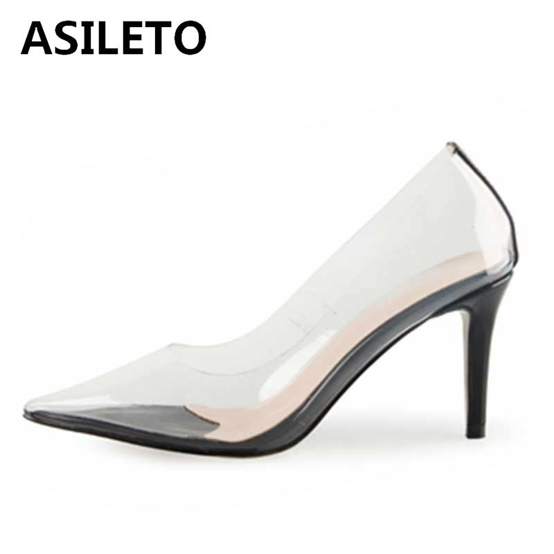 ASILETO Women Transparent PVC Pointed Pumps high heels Clear nude pumps party Dress wedding Shoes slip