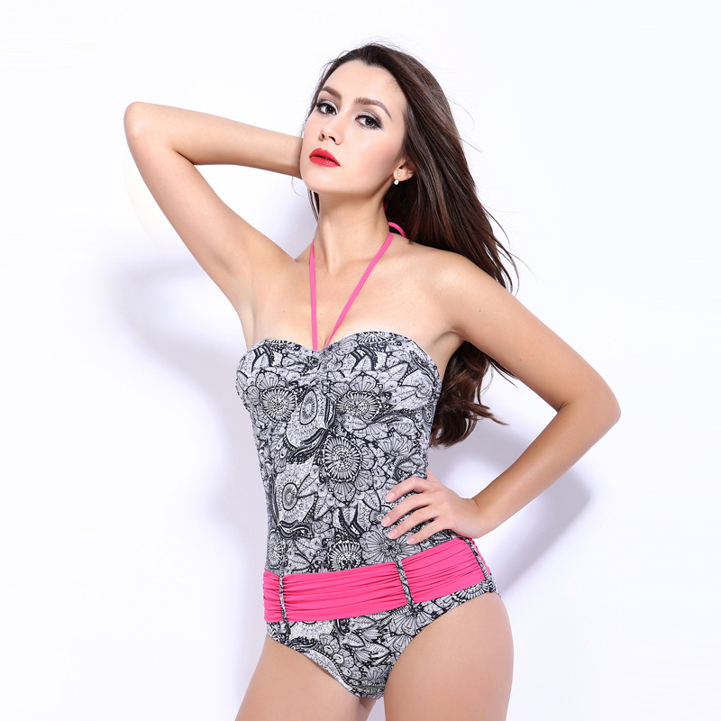 female one-piece women swimwear sexy sling back lace halter swimsuit bathing suit body suit blue black yellow pink printed japanese maid sukumizu school swimsuit one piece women swimwear slimming padding bikini halter shoulder belt bathing suit bell