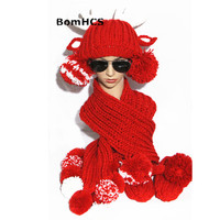 BomHCS Cute Antlers Hat+scarf+gloves Suit Winter Handmade Knitted Warmer Gift Beanie Neckerchief Mittens