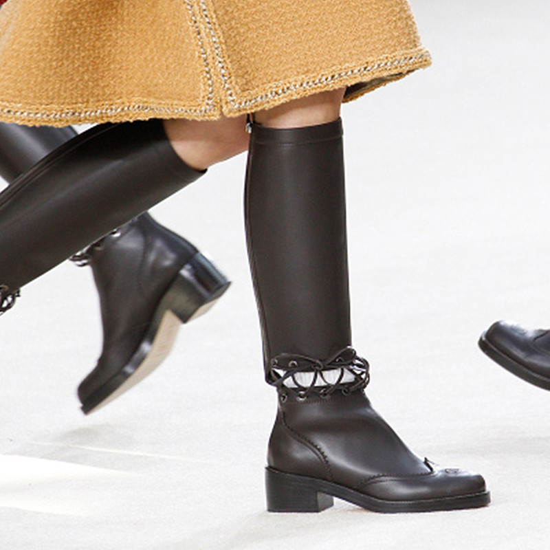 Spring/Autum 2016 Western Fashion Cut-outs Boots Women High-heeled Roman Boots Knee High Boots Classic Boots Bottes Femmes 2016
