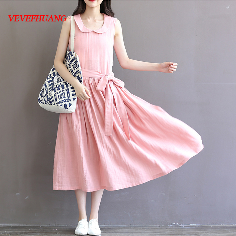 Mori Girl Summer Women Lovely Long Dress Peter Pan Collar Pink Sleeveless Vestidos De Festa Casual Loose Cotton Linen Dress