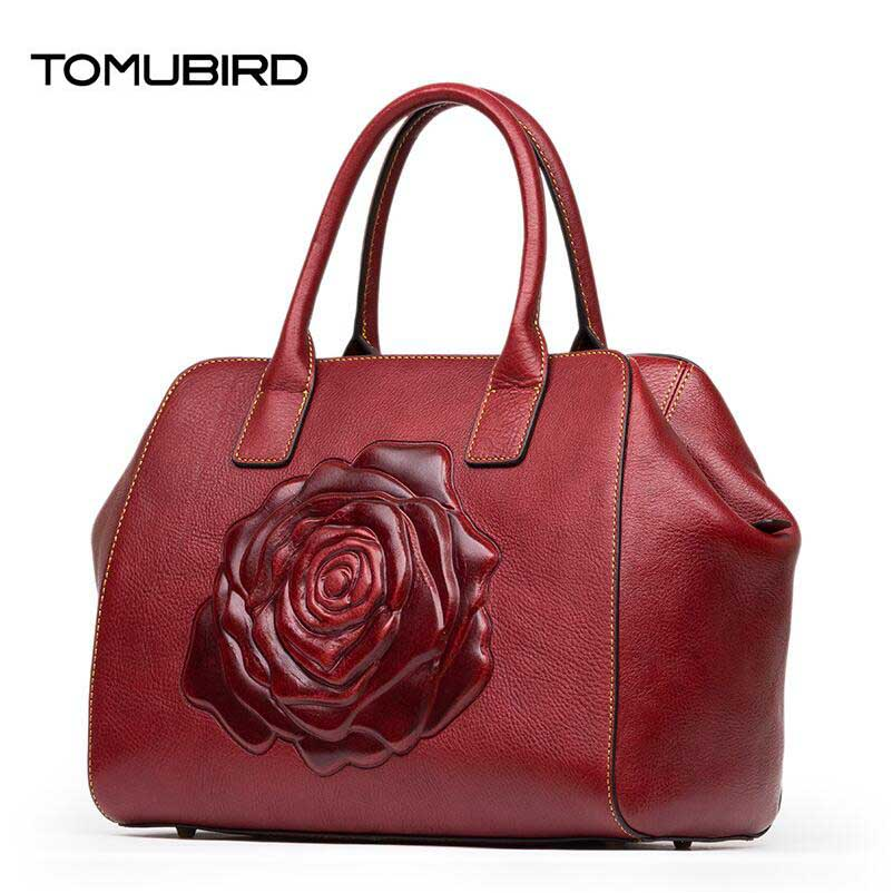 TOMUBIRD 2017 new Superior cowhide leather Classic Ladies rose Embossed Floral Leather Tote Handle Shoulder Handbags tomubird new superior cowhide leather classic designer embossed crocodile leather tote top handle handbags genuine leather bag