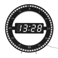 Circular Photoreceptive LED Digital Wall Clock Modern Design Dual Use Dimming Digital Clocks For Home Decoration US EU PLUG