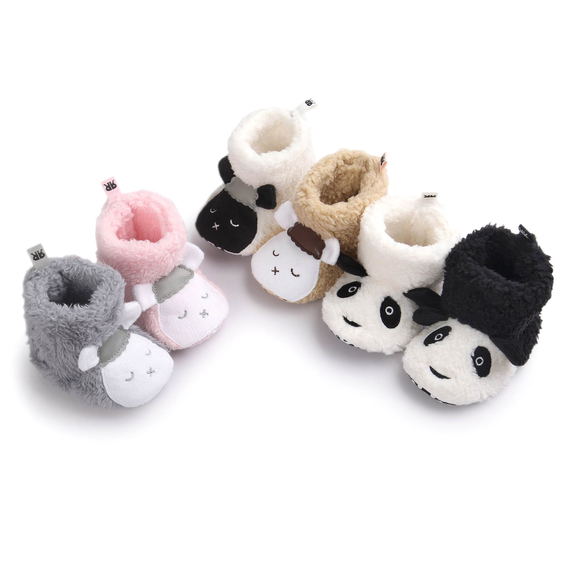 19e64988b769e US $6.43 8% OFF| Winter Cute Panda Animal Style Baby Boots Fleece Worm  Cotton padded Shoes Baby Booties Wholesale 0 1 Infant Toddler Shoes-in  First ...
