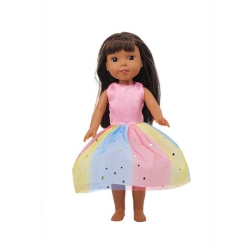 The new fashion style rainbow dress with fresh chip is suitable for the 14.5-inch American doll