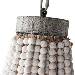Image 4 - מדינה אמריקנית סגנון רטרו תליית סיד לבן עץ חרוזים תליון מנורת LED אורות E27 AC 110V 220V עבור חדר שינה סלון