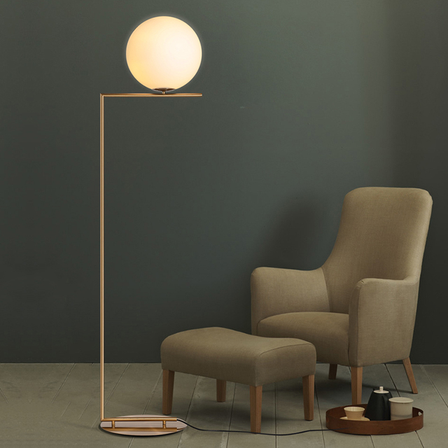 creative simple floor lamps glass ball standing lamp chrome gold for living room bedroom new design - Standing Lights For Living Room