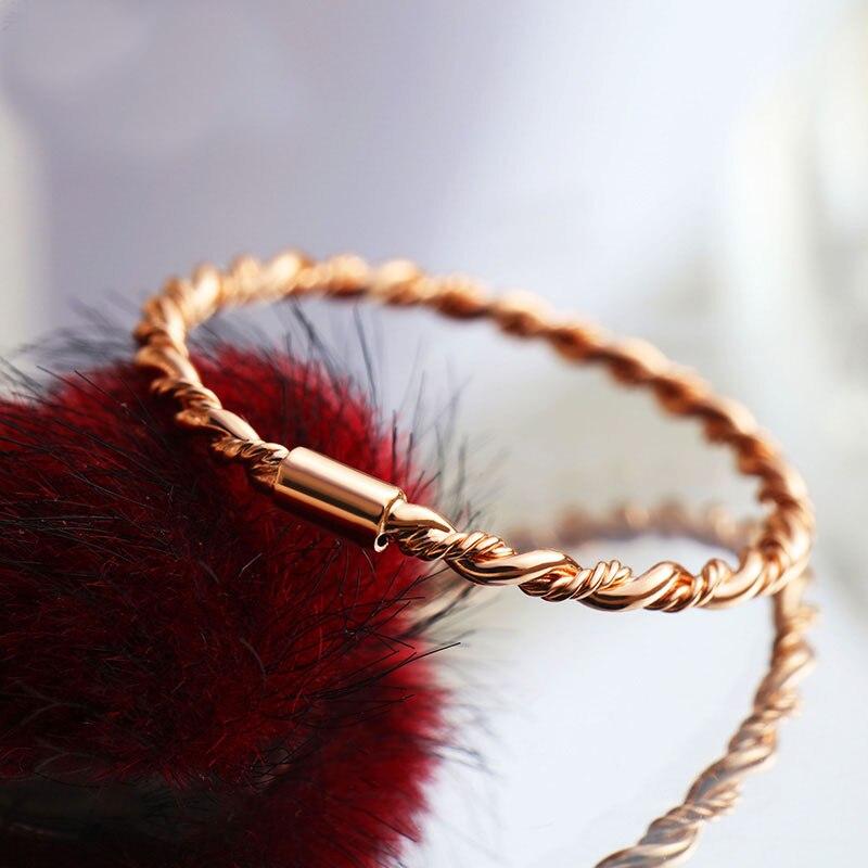 Nouvelle arrivée AU750 Rose or corde anneau bande dame petite bague de doigt
