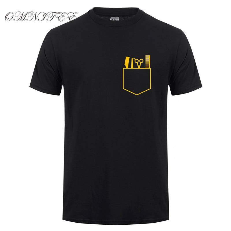 Camisetas de verano para hombre, nuevo estampado, paquete de peluquería, Camiseta de algodón con cuello redondo, manga corta, herramientas de barbero, camisetas, OT-817