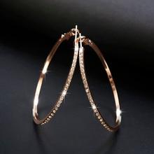 Модные серьги обруча, стразы, круглые серьги, простые серьги, большие круглые золотые цветные Серьги-петли для женщин