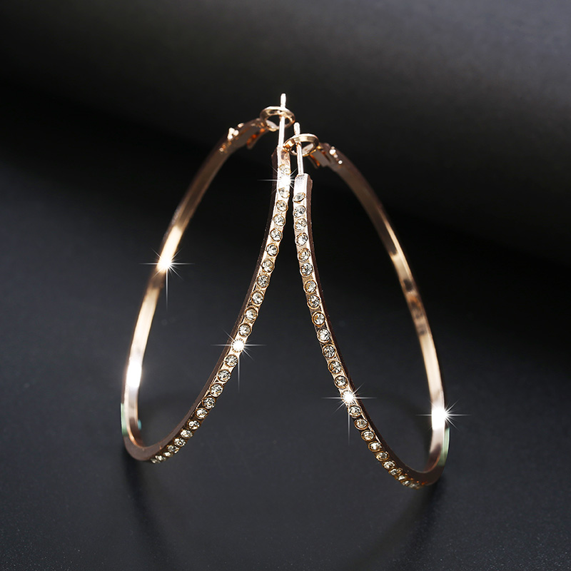 2018 Fashion Hoop Earrings With Rhinestone Circle Earrings Simple Earrings Big Circle Gold Color Loop Earrings For Women